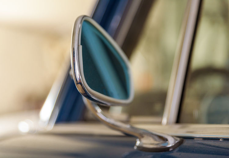 Detail of a classic Mercedes Classic Mercedes Mercedes-Benz Mirror Arts Culture And Entertainment Blue Business Car Close-up Day Detail Focus On Foreground Glass - Material Indoors  Metal No People Personal Accessory Reflection Selective Focus Steel Still Life Technology