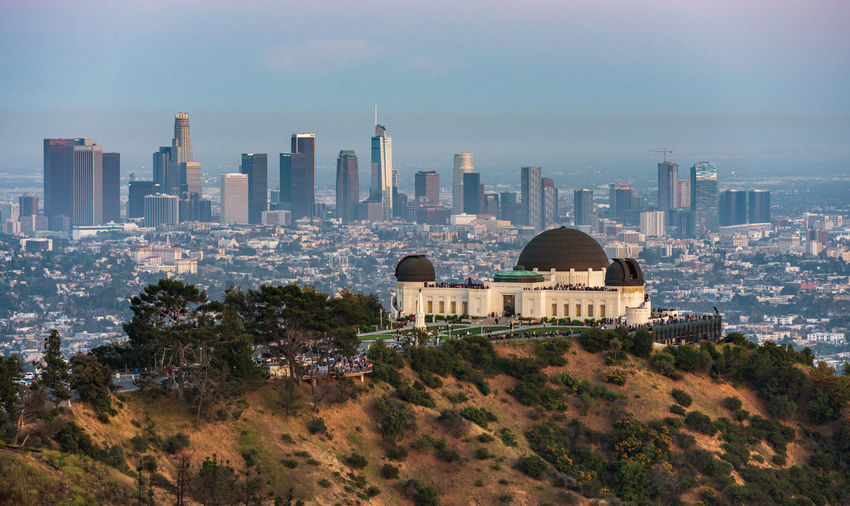 Griffith observatory and the Los Angeles skyline Built Structure Architecture Building Exterior Building City Cityscape Office Building Exterior Skyscraper Sky Urban Skyline Landscape Travel Destinations Outdoors Modern Day Griffith Observatory Los Angeles, California California Skyline Full Frame Tourists Tourist Attraction  Sunset