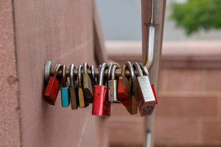 Padlock locked on the bridge