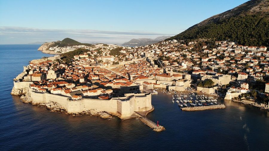Croatia Dubrovnik Rooftop House Old Town Drone View Urban Europe Built Structure Building Exterior Architecture Heritage Adriatic Sea Tower Town Travel Travel Destinations Travel Photography Seascape Ocean Beautiful Place Medieval Mediterranean  High Angle View Nautical Vessel