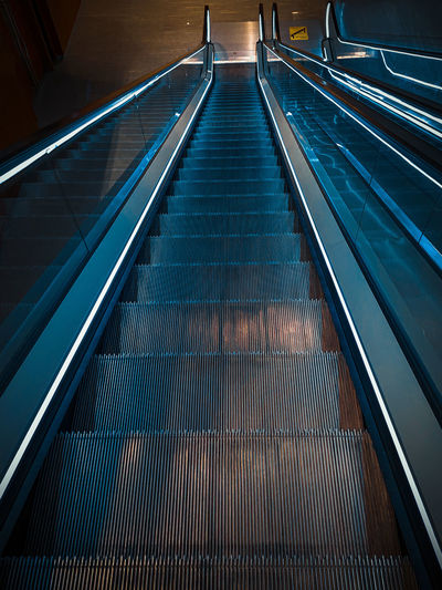 Elevated view of escalator