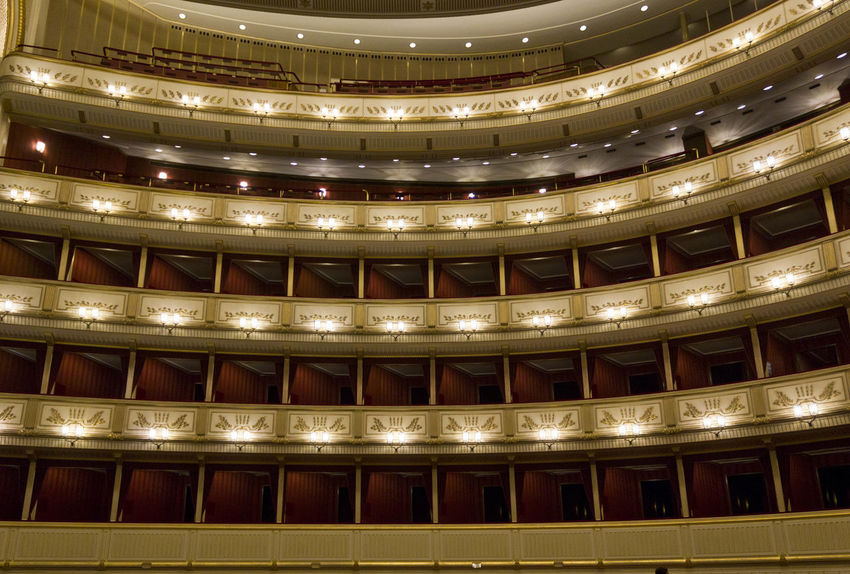 Vienna Opera House interiors Historical Building Interiors Opéra Theater Vienna Architecture Audience Auditorium Balcony Concert Hall  Historic Illuminated Indoors  No People Opera House Operahouse Public Places Royal Staatsoper Stall Stalls Theatre Wien Wiener