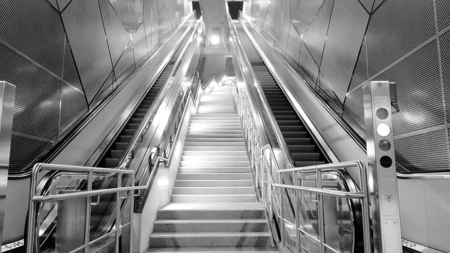 Railing Indoors  The Way Forward Steps And Staircases Staircase Steps Technology Convenience Futuristic Illuminated Built Structure Modern Architecture Cologne Metro Station Black And White Friday EyeEm Ready