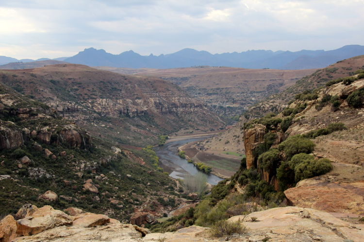 Lesotho Lesotho Mountain Scenics - Nature Beauty In Nature Landscape Environment Sky Tranquil Scene Mountain Range Tranquility Non-urban Scene Cloud - Sky Water Nature Rock No People Land Day Remote Tree Outdoors Climate Formation Arid Climate Eroded
