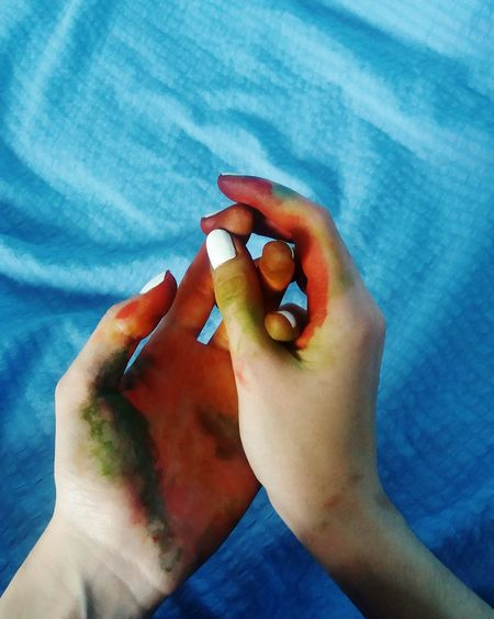 Human Body Part One Person Personal Perspective Human Hand Blue Nail Polish Colors Colorful Colour Of Life Colorsplash Hands Whitenails Coloredhand Lady Holding On Femininity Finger Painted Hands Young Adult