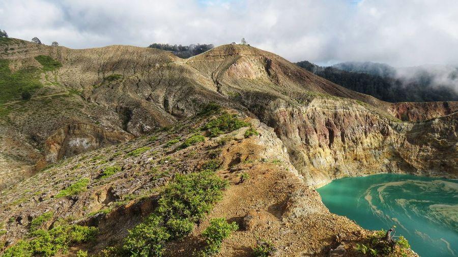 Beautiful view of the hills around lake kelimutu, flores island, indonesia