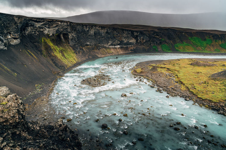 Scenic View Of A River Bed In A Dramatic Landscape In Iceland