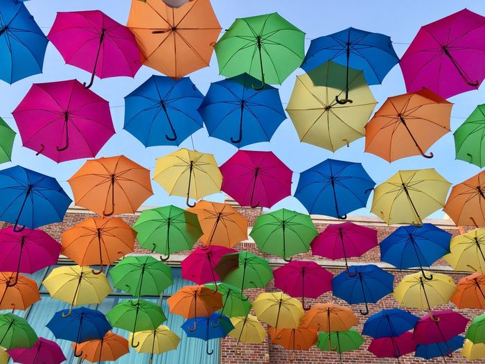 Low angle view of multi colored umbrellas