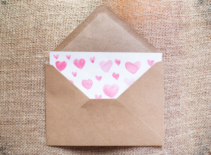 High angle view of heart shape on paper