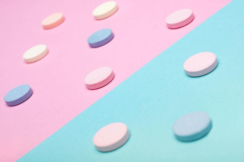 High angle view of pills on table