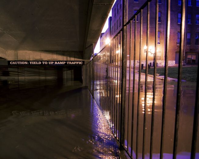 Indoors  Illuminated No People Night Flood Floodwaters River Garage
