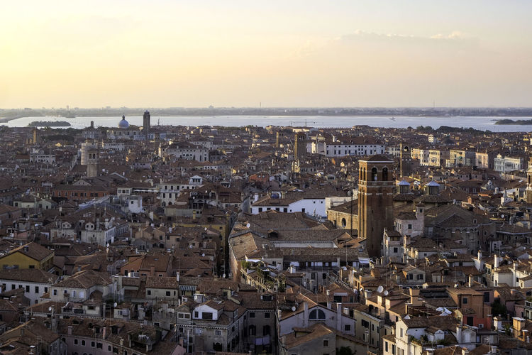 Aerial panoramic view of venice and the lagoon from campanile di san marco in saint mark square