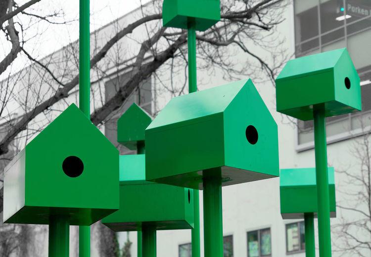 Modern green birdhouses made of steel and iron, abstract Green Color Bird Birdhouse Birdscage Steel