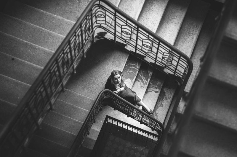 High angle view of woman on stairs