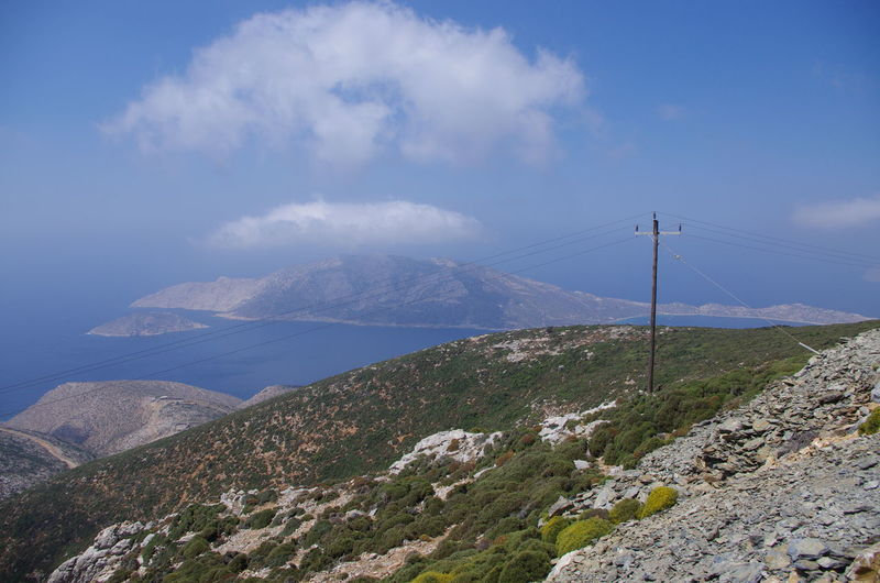 GREECE ♥♥ Griechenland Griechische Inseln Amorgos Amorgosisland Beauty In Nature Cable Cloud - Sky Connection Day Greece Landscape Mountain Mountain Range Nature No People Outdoors Scenics Sky