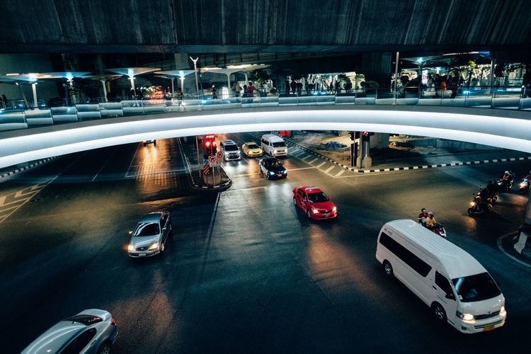 Architecture Bridge - Man Made Structure Car City Group Of People High Angle View Illuminated Land Vehicle Large Group Of People Men Mode Of Transport Motion Night Outdoors People Real People Road Transportation Water Women