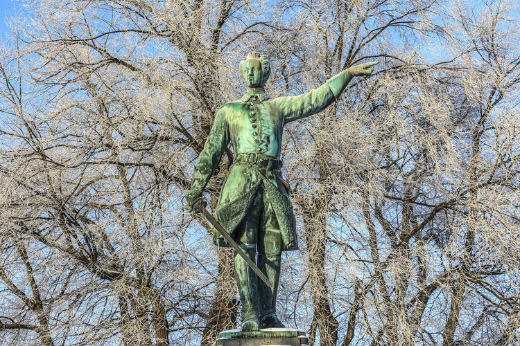 King Charles XII Stockholm Sweden Winter Art And Craft Bare Tree Blue Sky Branch Day Human Representation Karl XII Kungsträgården Low Angle View Nature No People Outdoors Sculpture Sky Snow Statue Tree