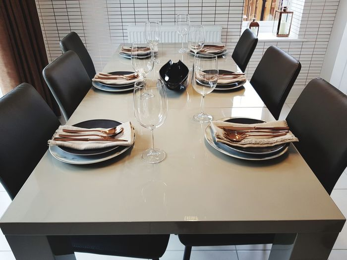 High angle view of place setting on table in restaurant