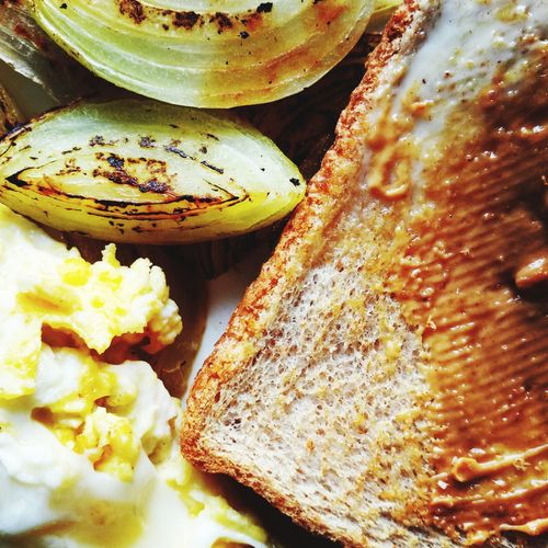 breakfast Eggs... Whole Wheat Onion Pan Fried Butter Peanutbutter Foodpost Foodlife Breakfast Brunch Homemade Closeup Vertical SLICE Close-up Food And Drink Served Pastry Healthy Food Ready-to-eat Sliced Bread Prepared Food Serving Size Brown Bread