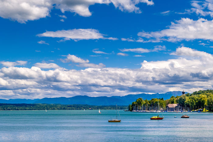Bernried with yacht harbour at Starnberg Lake, Upper Bavaria, Bavaria, Germany, Europe Bernried Starnberger See Lake Lakeside Landscape Sky Clouds Cloudy Spring Sailboats Cloud - Sky Day Mountain Mountain Range Nature No People Outdoors Sailboat Scenics Sea Sky Tranquil Scene Tranquility Vacations Water Yacht
