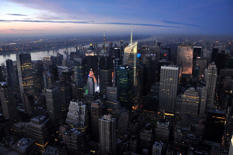 city 紐約市 Sunset Newyork City Cityscape Urban Skyline Modern Skyscraper Illuminated Aerial View Downtown District Business Finance And Industry Office Building Exterior Office Building Humanity Meets Technology
