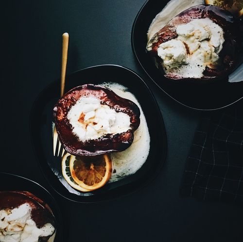 Black Background Baked Baked Fruit Baked Quince Coconut Whipped Cream Dark Photography Food Fruit Halves Lemon No People Quince Ready-to-eat Sweet Food Vegan Food Whipped Cream