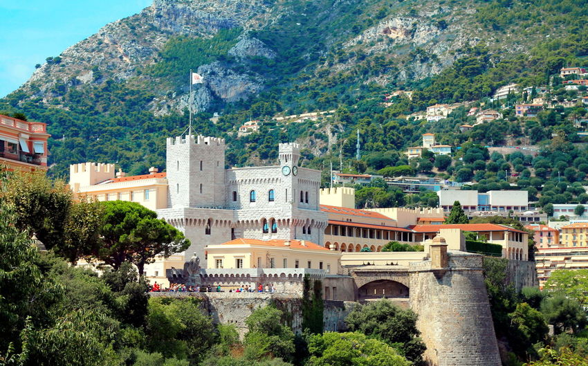 Princes palace of monaco against mountain