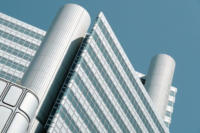 Façade The Architect - 2018 EyeEm Awards Architecture Building Building Exterior Built Structure Clear Sky Futuristic Geometric Shape Geometry Low Angle View Modern Office Building Exterior Silver Colored Sky Skyscraper Tower