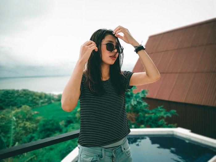 See her outside the village after swimming at radika paradise hotel, gunungkidul, yogyakarta