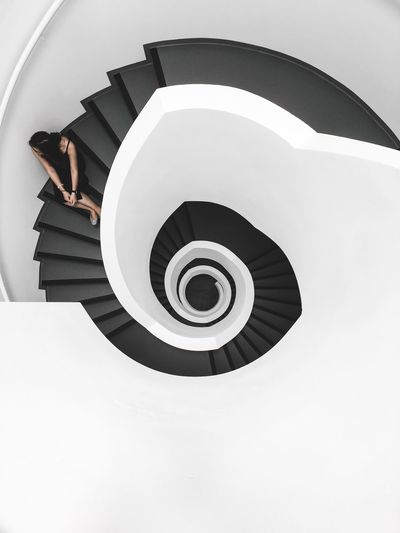 EyeEm Selects Spiral Staircase One Person Simplicity Minimalism Architecture EyeEm Best Shots White