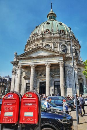 CONTRASTOS Copenhagen Springtime Danmark Beauty Place Danmark Frederiks Kirke Mailboxes Mailbox Red Dome Sky Architecture Historic Cathedral Building Church Christianity Tall Exterior