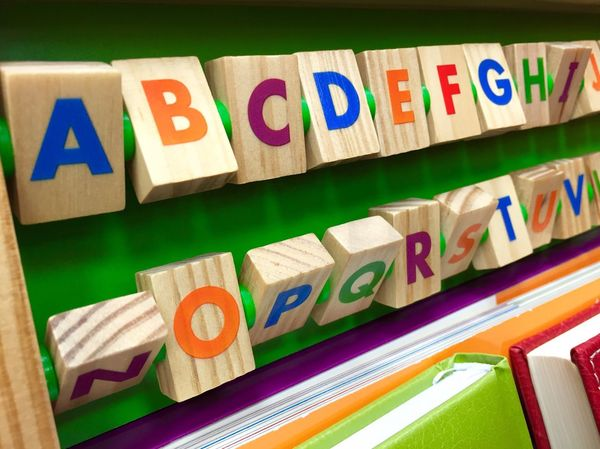 Alphabet from colorful wooden cubes Cubes Colorful Alphabet Toy Infantil  Infant Learn Child Letters