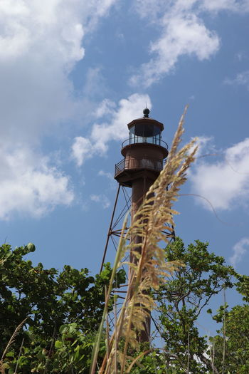 Sanibel Island Lighthouse Lifestyles Light House And Blue Sky Sky Beach Florida Tranquility Outdoors No People Day Old Vintage Sanibel Beach Sea Oats