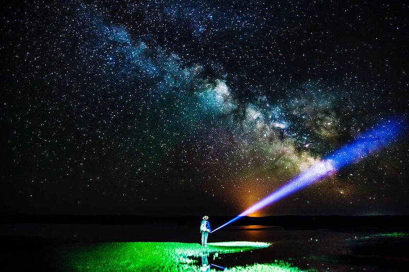 Night Star - Space Beauty In Nature Scenics Astronomy Nature Sky Tranquility Water Galaxy Star Field Outdoors Lake Tranquil Scene Illuminated Constellation Standing Real People One Person Milky Way Canon 5d Mark Lll The Great Outdoors - 2017 EyeEm Awards Live For The Story