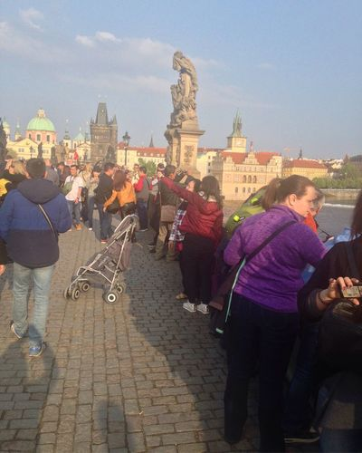 charles bridge, prague Real People Walking Built Structure Lifestyles Large Group Of People Rear View Tourism Leisure Activity Architecture Men Women Outdoors Sky Religion Building Exterior Travel Destinations Day Spirituality Full Length Statue