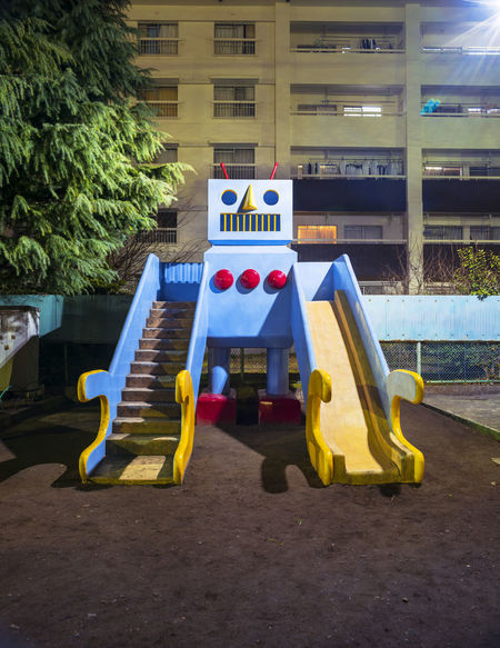 Childhood City Life Deep Night Kids Park Night Old Robot Portrate Robot Slide Urban
