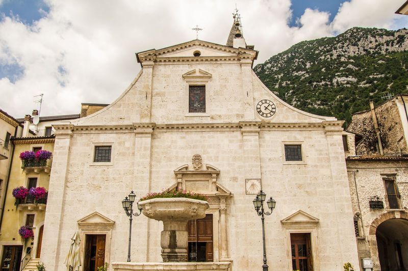 View of Chiesa Madre - Santa Maria della Misericordia church in the historic center of Pacentro, Abruzzo Abruzzo Church Santa Maria Della Misericordia Abruzzo - Italy Architecture Belief Building Building Exterior Built Structure Chiesa Madre Cloud - Sky Day Europe History Italy Low Angle View Nature Ornate Outdoors Pacentro Place Of Worship Religion Sky Spirituality Travel Destinations