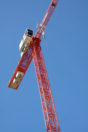 Berlin Photography City Life Copy Space Cranespotting Workplace Berliner Ansichten Blue Sky Construction Industry Construction Site Crane Crane - Construction Machinery Red Very High Up