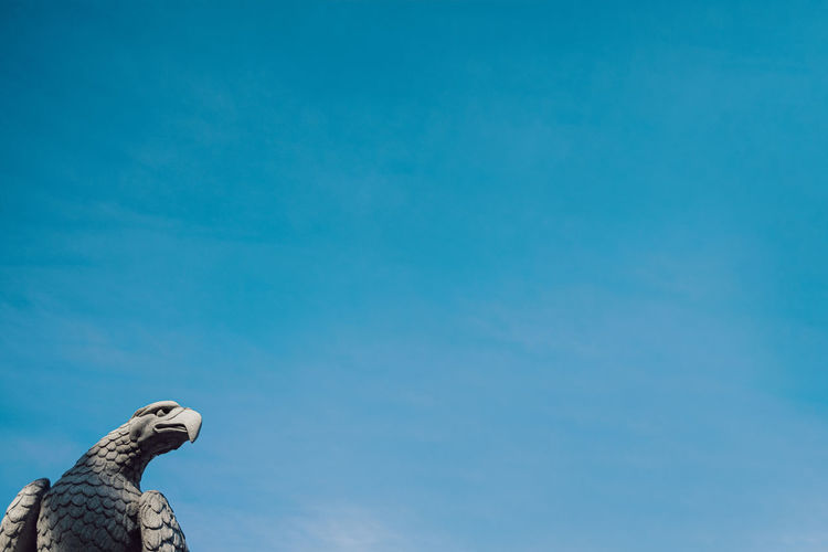 Low angle view of bird statue against blue sky