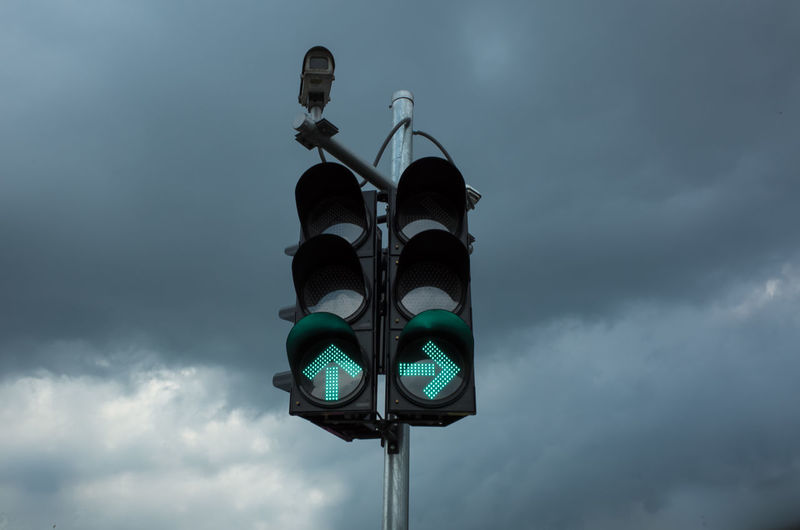Low Angle View Of Traffic Signal Against Sky