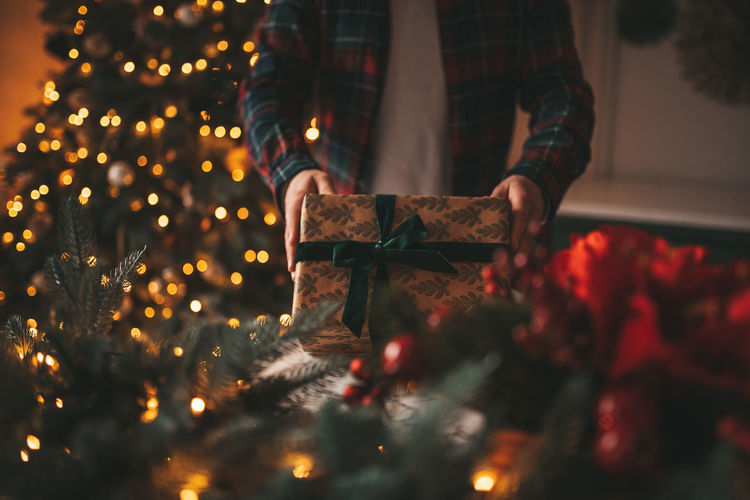 Man holding illuminated christmas tree