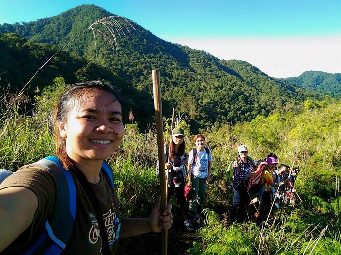 Enjoy The New Normal Real People Happiness Mid Adult Day Portrait Outdoors People Smiling Adult Trust Friendship Togetherness Trekking With Friends Adventure Camping Philippine Sceneries Amazing Lake Holon