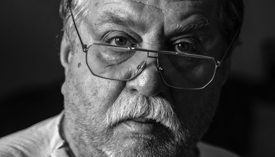 black and white portrait of middle-aged caucasian man Black And White Middle-aged Man Caucasian Glasses Eyeglasses  Portrait Headshot Senior Adult Beard Real People One Person Facial Hair Males  Adult Looking At Camera Front View Lifestyles Men Close-up Senior Men Human Face Body Part Mature Men White Hair