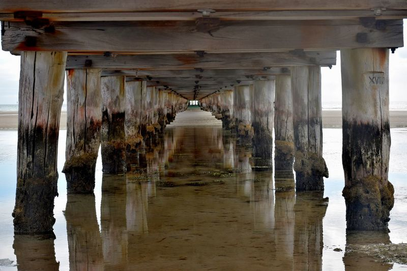 Under the jetty Architecture Beach Built Structure Pier Sand Sea SUPPORT Water Wood - Material