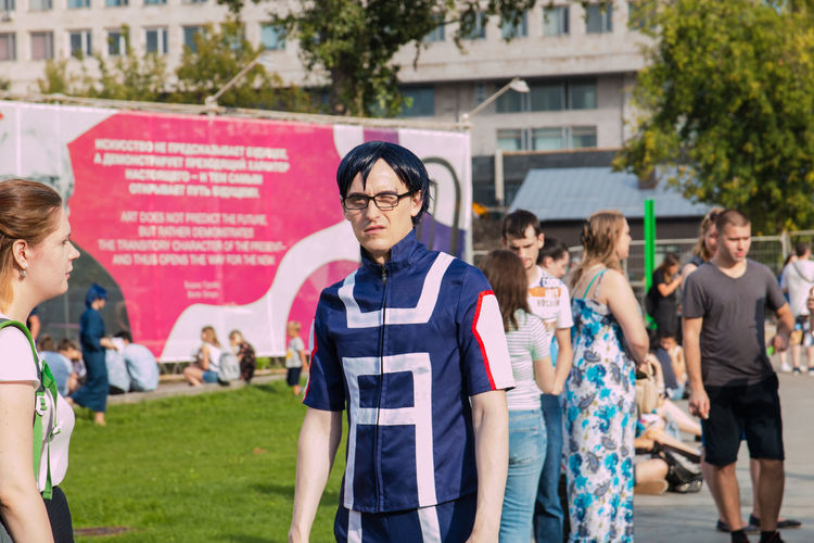 Cosplay Adolescence  Adult Architecture Casual Clothing Day Eyeglasses  Focus On Foreground Front View Glasses Group Of People Medium Group Of People Men Nature Outdoors People Standing Teenage Boys Teenager Women Young Adult Young Men Young Women
