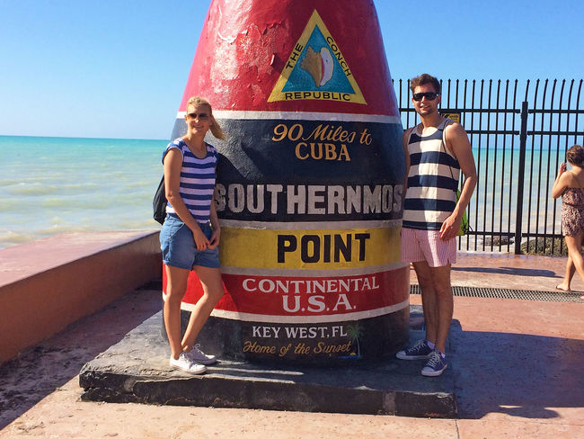 Young couple in Key West, Florida Couple Cuba Happy Key West Love Man Miami Sightseeing Southern Point Tourist Travel Woman Young Beach Destination Florida Girl Honeymoon Landmark People Point Sea Summer Tourism Vacations