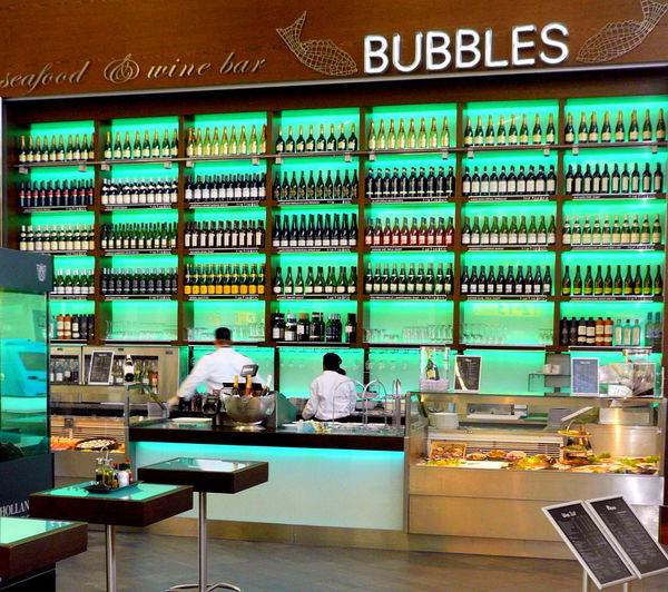 Amsterdam Amsterdam Schiphol Airport Bar Bottles Bubbles Drinks Food Green Large Group Of Objects Panasonic DMC FX-100 Restaurant Schiphol Seafood Winebar Everything In Its Place Schipol  Beautifully Organized