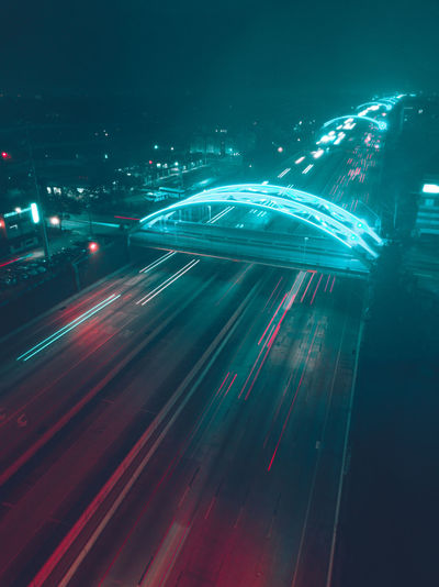 High Angle View Of Light Trails On Multiple Lane Highway