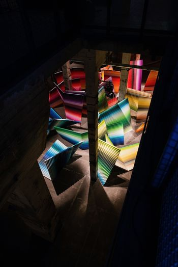 High angle view of illuminated book at home