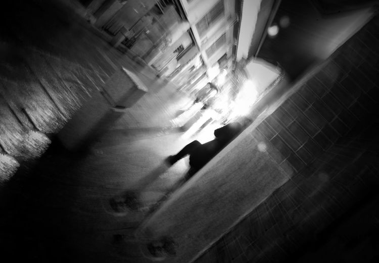 Use your Imagination ... Black & White Black & White Blackandwhite Motion Blur Motion Nightphotography Night Street Photography Streetphotography Street Silhouette Real People Walking Indoors  One Person Architecture High Angle View Lifestyles Men City Motion Shadow Unrecognizable Person